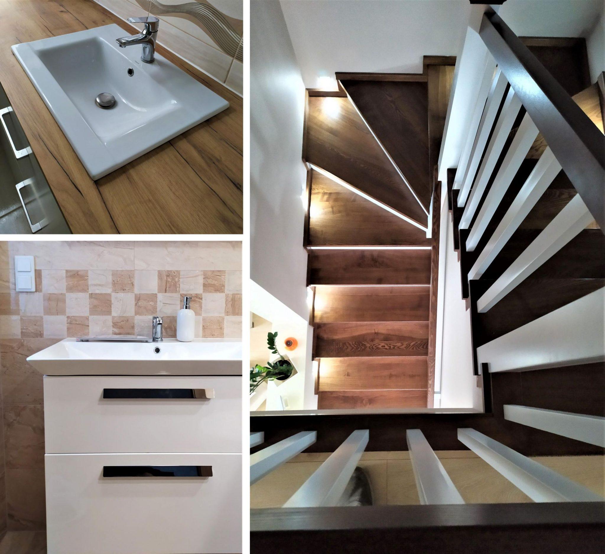 Kolaż zezdjęć przedstawiający podświetlone schody, umywalkę nadrewnianym blacie iumywalkę zszafką natle płytek wmałą kratkę.